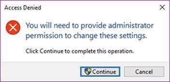 アクセスが拒否されると、管理者のアクセス許可が必要