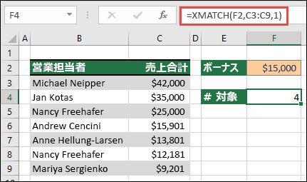 XMATCH を使用して、完全一致または次の最大の項目を検索することにより、特定の制限を超える値の数を検索する例