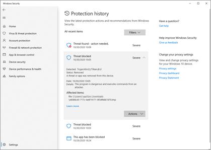 Windows セキュリティの [保護履歴] ウィンドウに、いくつかのサンプルインシデントが表示されています。
