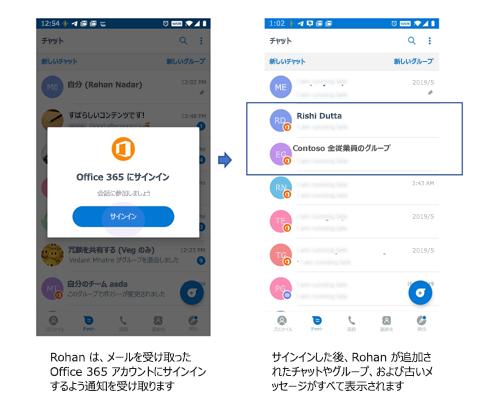 Kaizala を使っていないユーザーがチャットやグループを受信するための電話 UI の画像。