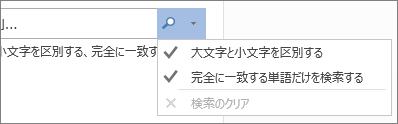 展開されている [検索と置換] オプション