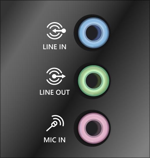 サウンド システムの緑色の出力ジャックとピンク色の入力ジャック