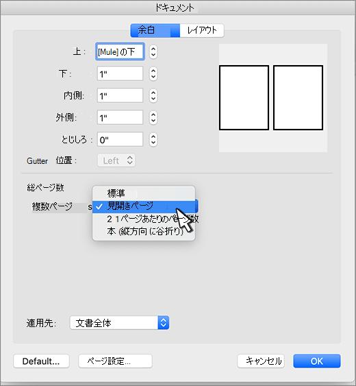 ページセットのミラー余白を設定する