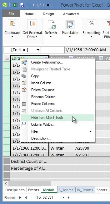 右クリックして、Excel クライアント ツールからテーブルのフィールドを非表示にする