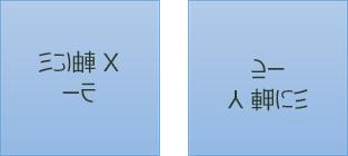 ミラーテキストの例: 最初は x 軸で180度回転し、2番目の y 軸では180度回転します。