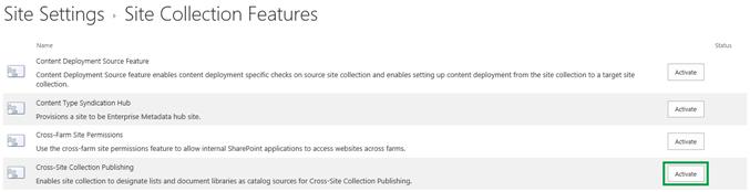 クロス サイト コレクションの発行機能を有効にする