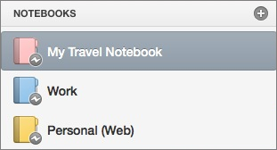オフライン状態のノートブック リスト。