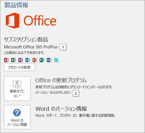 Office 製品名と完全なバージョン番号を示す [アカウント] ページのスクリーンショット
