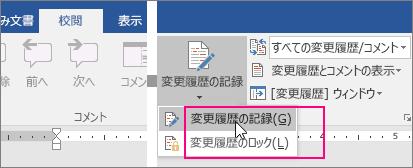 [変更履歴の記録] ボタンをクリックすると使用可能なオプションが強調表示される