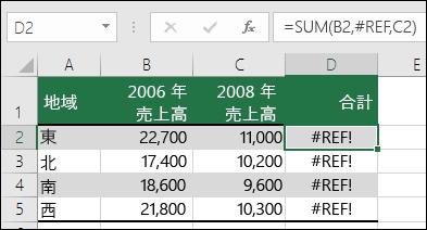 列の削除に起因するエラー値 #REF! の例。