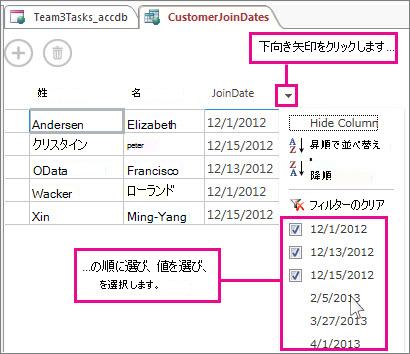 Access アプリでのクエリ結果列のフィルター処理