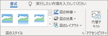 Windows 版 Outlook のリボンの [代替テキスト] ボタン。