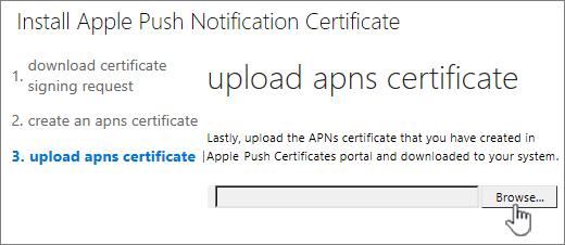 [参照] ボタンをクリックし、Apple からダウンロードした APNS 証明書を選択します