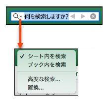 [検索] バーがアクティブになっている状態で、虫眼鏡をクリックして、[その他の検索オプション] ダイアログをアクティブにします。