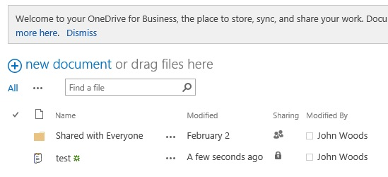 OneDrive for Business のドキュメント ライブラリ