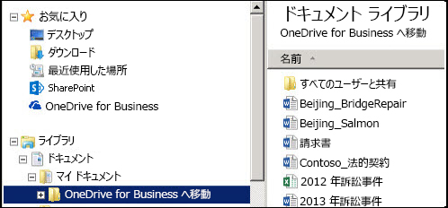 同期された SharePoint OneDrive for Business フォルダーからファイルを移行した後の中継フォルダー