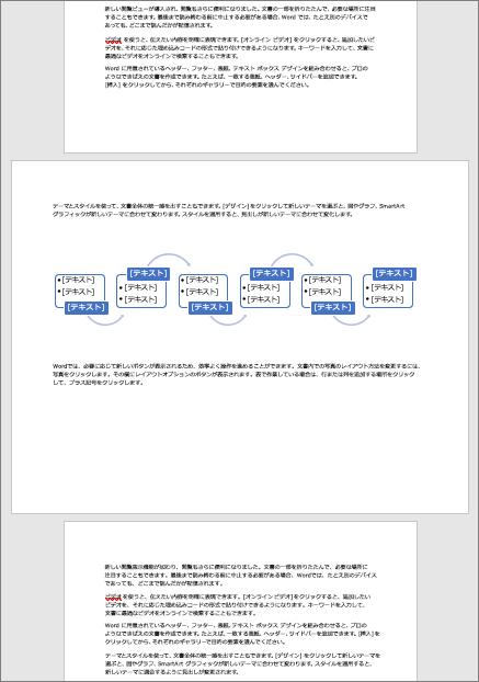 横向きのページを縦向きドキュメントにすると、表や図などの幅の広い要素をページ幅に合せて自動調整してくれます。
