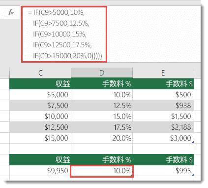 順序が間違っている D9 の式 =IF(C9>5000,10%,IF(C9>7500,12.5%,IF(C9>10000,15%,IF(C9>12500,17.5%,IF(C9>15000,20%,0)))))