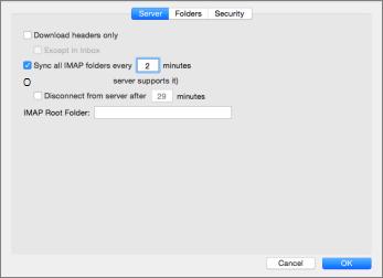 Outlook 2016 Mac の IMAP アカウントのサーバーの設定
