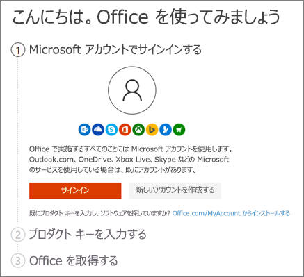 Setup.office.com の開始ページを表示する
