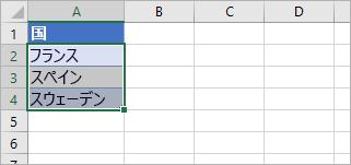 4 つのセルが選択されており、それぞれに国名が含まれます