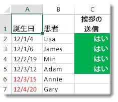 Excel の条件付き書式のサンプル
