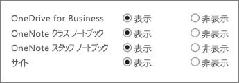 OneDrive for Business、OneNote クラス ノートブック、OneNote スタッフ ノートブック、サイトからなる一覧。[表示] ボタンと [非表示] ボタンを確認できます。