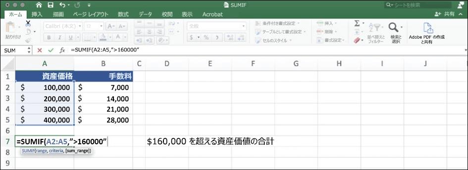 SUMIF 関数を使用した Excel データのスクリーンショット