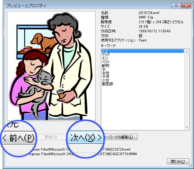 [プレビューとプロパティ] ダイアログ ボックスで [前へ] および [次へ] ボタンを選択して、画像を参照します。