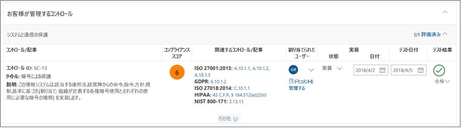 コンプライアンス マネージャーの評価 - NIST 800-53 SC(13) 完了