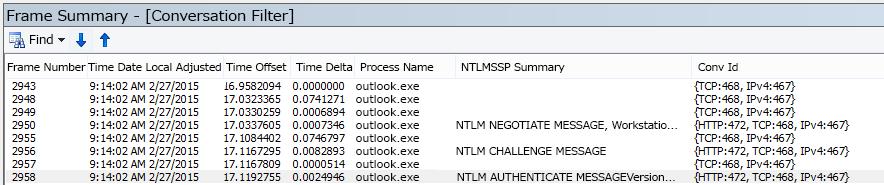 スレッドでフィルター処理されたプロキシ認証を示す Netmon のトレース