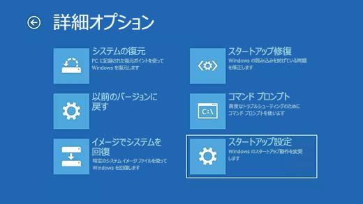 Windows 回復環境の詳細オプション画面。