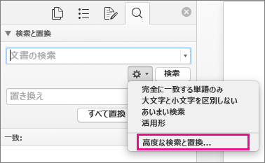 [検索と置換] ボックスの [高度な検索と置換] が強調表示されている
