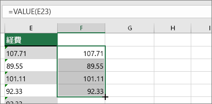 カーソルを下にドラッグして、セルに数式をコピーする