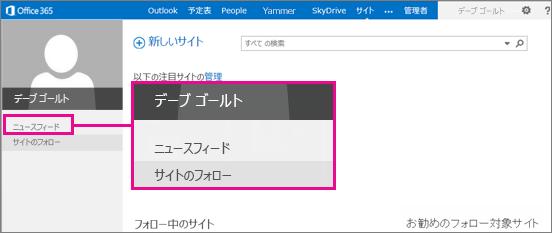 ニュースフィードへのリンクが強調された、[サイト] ページのスクリーンショット