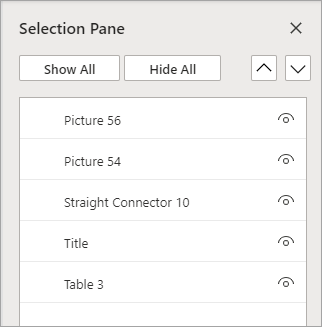 選択ウィンドウでは、スライド上のオブジェクトを並べ替えたり、表示/非表示にしたりすることができます。