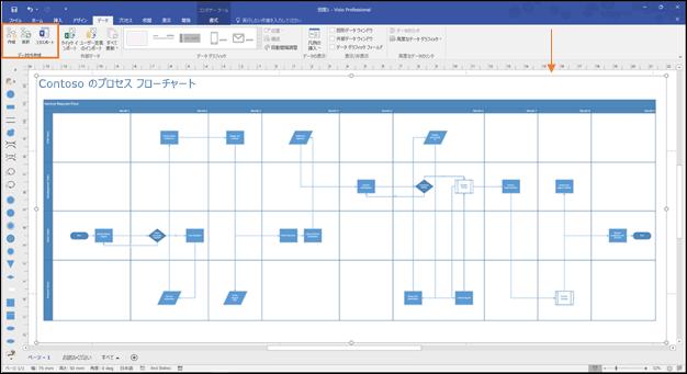 データ ビジュアライザーの [作成]、[更新]、[エクスポート] ボタンが強調表示されている Visio プロセス フローチャートのスクリーンショット