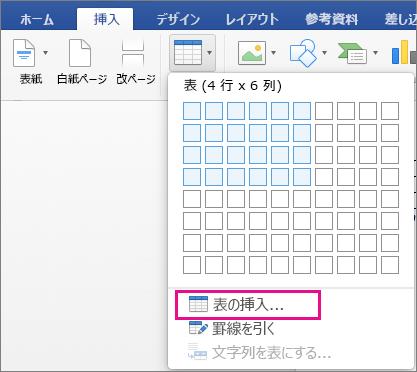 ユーザー設定の表を作成するための [表の挿入] が強調表示されている