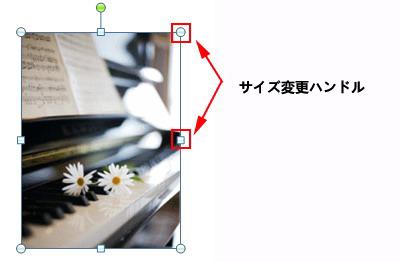 写真をクリックすると、サイズ変更ハンドルが表示されます。