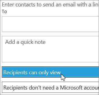 [ユーザーの招待] ダイアログの [受信者に表示のみを許可する] オプション
