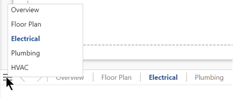 [ページリスト] ボタンを選択すると、現在の図面ファイル内のすべてのページの一覧が表示され、選択されます。