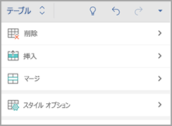Android フォンの [表] タブ