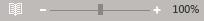 Outlook のズーム スライダーとパーセンテージの例