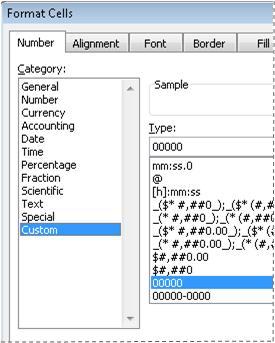 [セルの書式設定] ダイアログ ボックスの [ユーザー定義] 分類