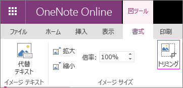 OneNote Online の [図のトリミング] オプションのスクリーン ショット。