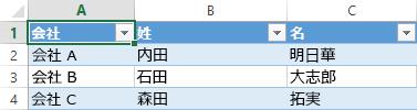 3 つの列の 3 つのデータ レコードを表示する Excel スプレッドシート