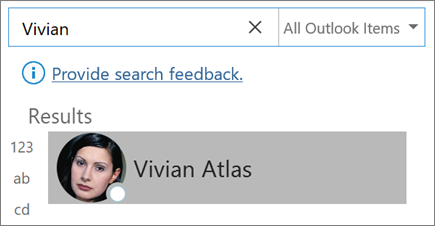 Outlook で検索を使用して連絡先を検索する