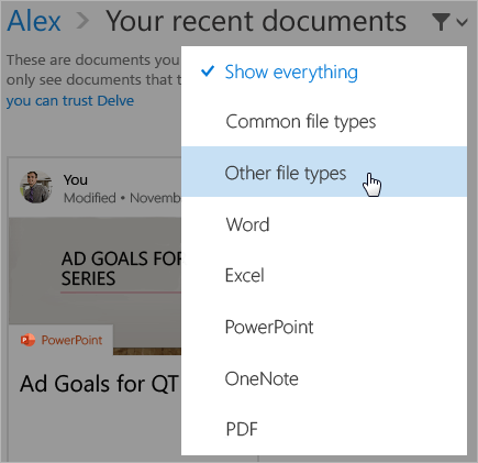 フィルター リストが表示された、最近使用したドキュメントのページのスクリーンショット。