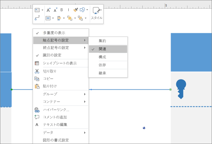 リレーションシップの線の両端に UML リレーションシップ表記の記号を設定します。