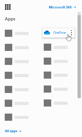 Office 365 アプリ起動ツールで [OneDrive] アプリが強調表示されている